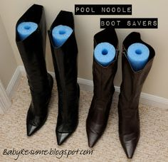 Use A Pool Noodle To Help Your Boots Stand Upright  I Just Saw Noodles At