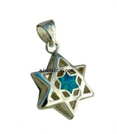 Silver and Opal Pendant   Magen David by aJudaica