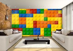 Lego mural / artwork / wallpaper for bedroom? Lego Bedroom, Bedroom Murals, Bedroom Themes, Kids Bedroom, Bedroom Ideas, Lego Wallpaper, Print Wallpaper, Room Wallpaper, Lego Boys Rooms