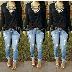 Maxi blusa negra  Jeans rasgados, maxi collar