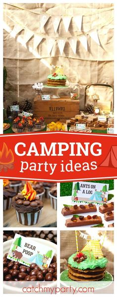 Check out this fun Summer Camp Sunshine Camping Party! The birthday cake is so c Check out this fun Bigfoot Birthday, Bigfoot Party, Camping Desserts, First Birthday Parties, Birthday Party Themes, Birthday Ideas, 9th Birthday, Girl Birthday, Camping Hacks
