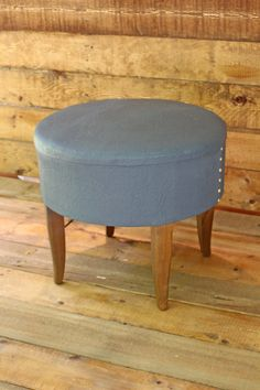 Authentic Vintage Footstool / Ottoman Lovely Custom Blue w/ Gold Leaf Nail Heads $75 16 ht x 18.5 diameter