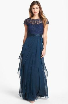 Navy looks perfect on any skin tone. - Adrianna Papell Layered Chiffon & Lace Gown