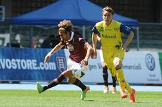 Alessio Cerci # 11 of Torino FC ( L ) in action  during the Serie A match between AC Chievo Verona and Torino FC at Stadio Marc'Antonio Bent...
