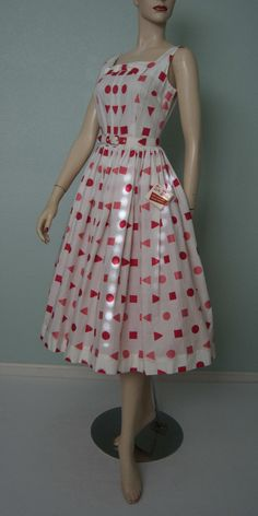 1950s NWT Deadstock Betty Barclay // Embroidered White Cotton Summer Dress // Berry and Melon Geo Shapes // Belted // New Look by KittyGirlVintage on Etsy https://www.etsy.com/listing/226561265/1950s-nwt-deadstock-betty-barclay