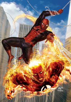 Human Torch & Spider-Man - In-Hyuk Lee
