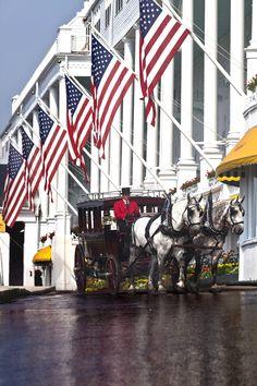 Horse-drawn carriage at Grand Hotel, Mackinac Island, MI