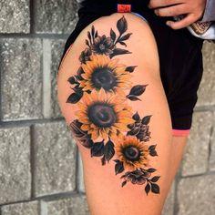 Skull Tattoos, Tribal Tattoos, Tatoos, Hip Tattoos, Sunflower Tattoos, Sunflower Tattoo Sleeve, Sunflower Tattoo Design, Gorgeous Tattoos, Awesome Tattoos