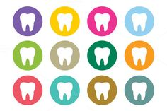 Dental tooth Icon vector logo set by Vector-Stock on Creative Market