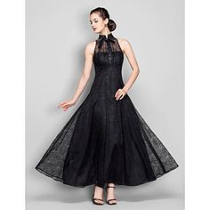 f142676960 A-line High Neck Ankle-length Lace Evening Dress (699490) – USD
