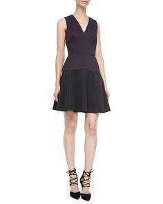 V-Neck Knit/Crepe Combo Dress