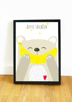 Poster mit Bärchen fürs Kinderzimmer, Wanddeko, Motivation / cute art print with smiling bear for wall decoration made by Haus nr.26 via DaWanda.com