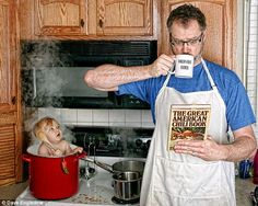 Cooking up trouble: Dave Engledow's World's Best Father photo collection sees him pose alongside daughter Alice Bee in a series of very unlikely scenarios