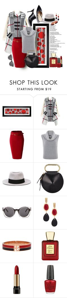 """""""Gray with a Pop !!"""" by kateo ❤ liked on Polyvore featuring Universal Lighting and Decor, LE3NO, Mint Velvet, Maison Michel, 3.1 Phillip Lim, Chico's, Henri Bendel, Bella Bellissima, Lancôme and OPI"""