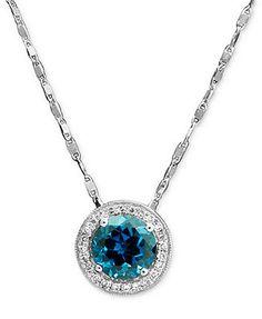14k White Gold Pendant, London Blue Topaz (1-5/8 ct. t.w.) and Diamond (1/10 ct. t.w.) Drop Necklace