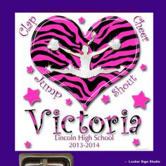 Cheer Bling Zebra Heart Locker Sign - Personalized Locker Decoration of Diamond Cheerleader Jumping on Zebra and Hot Pink Heart Background