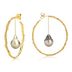 "Ornella Iannuzzi ""Coralline Reef"" gold hoops with Tahitian pearls (£3,850)."