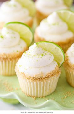Key Lime Cupcakes - with lime juice and zest, topped with a tangy sweet lime frosting and graham cracker crumbs | By Lindsay Conchar for TheCakeBlog.com