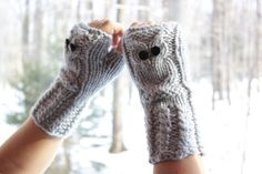 Owl Fingerless Gloves in grey mittens hand knitted by HALObebe, $39.00