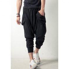 $12.61 Summer Fashionable Men' s Loose-Fitting Solid Color Sports 3/4 Harem Pants