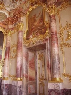 This German interior is influenced by Rococo design style. The pinks, roses, and… This German interior is influenced by Rococo design style. The pinks, roses, and gold adornments are true of this time period. Baroque Architecture, Beautiful Architecture, Beautiful Buildings, Architecture Design, German Architecture, Building Architecture, Angel Aesthetic, Gold Aesthetic, Aesthetic Wallpapers