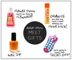 Over half a dozen good luck gifts, each for only a dollar or less! An easy and inexpensive way to let your athletes know you are rooting for them! Gymnastics Competition, Gymnastics Team, Gymnastics Gifts, Cheerleading Gifts, Cheer Gifts, Volleyball Gifts, Cheer Mom, Cheer Stuff, Gymnastics Stuff