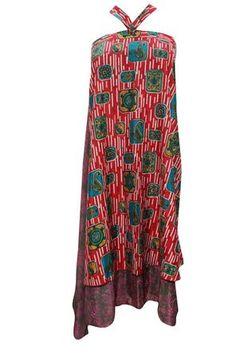 Women's Wraps Skirt Two Layer Reversible Silk Sari Bohemian Long Skirt