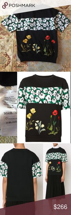Stella McCartney Women's Black Floral Sweater 42 S Stella McCartney Women's Black Floral Sweater 42 S Stella McCartney Sweaters