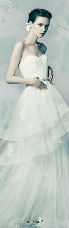 annasul y bridal 2016 charoite strapless pretty A-line peplum wedding dress tiered horsehair trim skirt zoom #weddingdress #weddingdresses #alineweddingdress