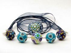 Brise  Polymer Clay necklace Kette Organza Millefiori Fi... von filigran-Design   auf DaWanda.com