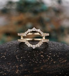 Moissanite Curved wedding band diamond yellow gold ring Ring enhancer diamond curved band Antique ring matching band stacking rings for