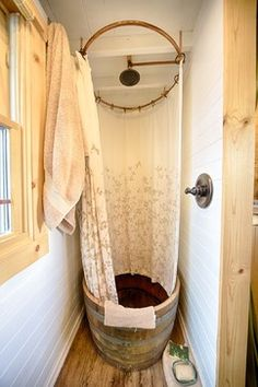 Airstream Design Ideas, Pictures, Remodel, and Decor - page 10 shower in a wine barrel