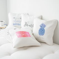 Cathy's Concepts   Personalized Printed Throw Pillows. Pineapple pillows, french pillows, hello home, choose happiness, and love pillows. accent your home with colorful throw pillows. Bedroom pillows, chair throw pillows, patio pillow.