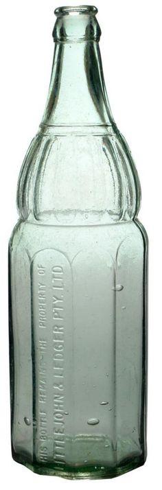 Littlejohn & Ledger Ltd. Crown seal fancy shape. New South Wales Cordial old bottle. c1920s.