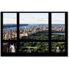 Trademark Fine Art Central Park Window View Canvas Art by Philippe Hugonnard, Size: 16 x 24, Green
