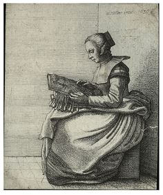 """The lace-maker "" - Wenceslas Hollar. (1607 – 1677), was a Bohemian etcher, known in England as Wenceslaus or Wenceslas and in Germany as Wenzel Hollar."