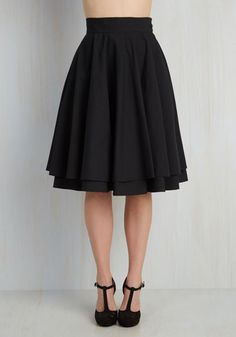 Essential Elegance Skirt in Black - Black, Solid, Tiered, Exclusives, Best Seller, Rockabilly, Vintage Inspired, 50s, Pinup, Basic, Better, Black, Press Placement, Fall, Full, Party, Long, SF Fit Shop, Valentine's, Wedding