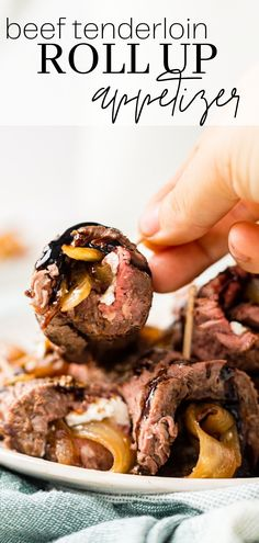 The flavor combination in this beef tenderloin appetizer will impress everyone at your holiday gathering. The tenderloin is cooked perfectly to medium rare and rolled up with an herby goat cheese, sweet caramelized onion and topped with a tangy balsamic glaze. All of those flavors make my new favorite app. Healthy Appetizers, Appetizer Recipes, Simple Meals, Easy Meals, Bite Size Food, Balsamic Glaze, Beef Tenderloin, Caramelized Onions, Goat Cheese