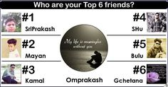 <b>Omprakash</b>, friends are people you don't need to have daily conversations with or had out together. Your friends live in your heart as you do in theirs and from all the friends you've racked up over the years it's time pick out the best. Share this with all your friends and let them know who your best friends are.