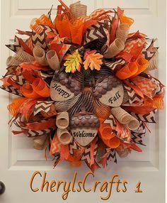 Fall Mesh Wreath,Fall Burlap Wreath,Fall Door Wreath,Happy Fall Wreath,Welcome Wreath,Autumn Wreath by CherylsCrafts1 on Etsy