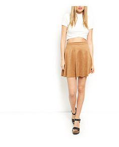 Camel Suedette Skater Skirt  | New Look.  LOOK SUPER HOT!