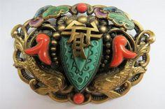 Rare Art Deco Max Neiger Czech Brass Chinese Fish Enameled Shield Glass Brooch | eBay