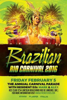 Brazilian Carnival Flyer Template - http://xtremeflyers.com/brazilian-carnival-flyer-template/ Brazilian Carnival Flyer Template  Brazilian Carnival Flyer Template  Brazilian Carnival Flyer Template PSD – Super easy to edit, well organized in folders with names, you can easily change texts, Colors, Add/Remove elements to this layered PSD.  Features  300 DPI CMYK Layered PSD All t