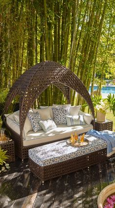Curl up comfortably and escape to the inner sanctum of our Bali Daybed.  | Frontgate: Live Beautifully Outdoors