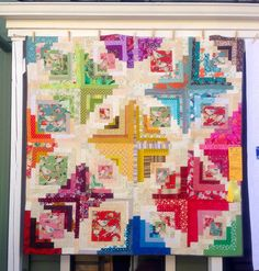 Cherri Langley's Converging Corners Paint by Numbers Bird Quilt in the Portland Modern Quilt Guild Special Exhibit.