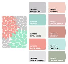 Nursery Colors: Grey, Soft Coral, Aqua (Or Soft Teal or Turquoise) Grey and White. Sherwin-Williams Paint Chip It! is now part of ColorSnap by Sherwin-Williams Paint. Color Schemes For Girls Bedrooms Coral Bathroom Decor, Coral Room Decor, Silver Bathroom, Bathroom Accessories, Deco Turquoise, Sherwin William Paint, Soft Corals, Big Girl Rooms, Girl Bedrooms