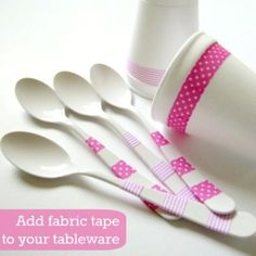 The Haby Goddess: 10 Minute Craft: Add fabric tape to tableware. Love this idea! Found a place to get lots of washi tape too! The Haby Goddess: 10 Minute Craft: Add fabric tape to tableware. Love this idea! Found a place to get lots of washi tape too! Festa Party, Diy Party, Party Ideas, Fancy Party, Washi Tape Crafts, Diy Crafts, Washi Tapes, Pyjamas Party, Poster Design