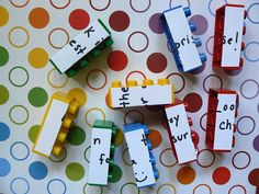 Duplo Puzzles - could have the kids find them and put them together to form the answer or big questions