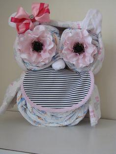 Girls Owl Diaper Cake/ Baby Shower by MyLittleDetailsShop on Etsy, $44.00