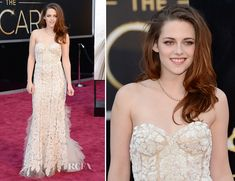 """Kristen Stewart Oscars 2013 #redcarpet #fashion """"I loved Kristen's bustier top and the lace detailing. It was super feminine and very flattering."""" @Sydney Reiman"""